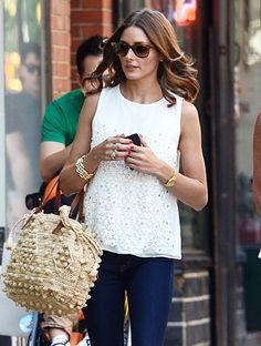 Stylish Olivia Palermo in Ann Taylor sleeveless top