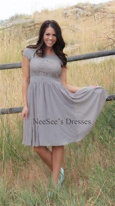 Light Gray Isabel by Mikarose | Modest Church Dresses | Trendy Modest Women's Clothing
