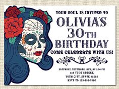 Sugar Skull Birthday Invitation, Sugar Skull Baby Shower Invitation, Sugar Skull Bridal Shower Invitation, Day of the Dead, Digital File