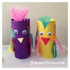 Cardboard Roll Parrot - craft for toddlers and preschoolers using tissue paper, google eyes, feathers and glue