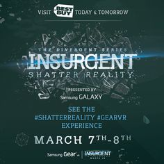 Are you Divergent? Find out by immersing yourself in the #ShatterReality #GearVR experience presented by Samsung Mobile USA at a participating Best Buy location today and tomorrow! For a full list of stores, visit: http://insur.gent/shatterreality