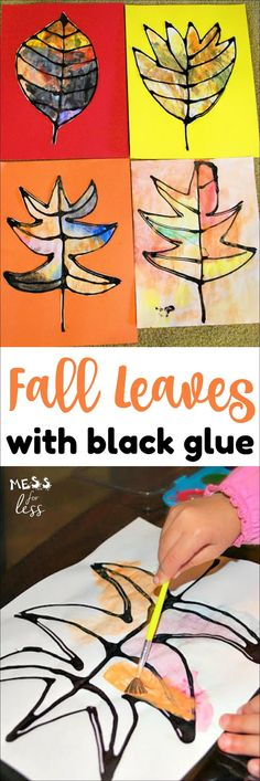 The colors on these fall leaves using black glue really pop. This is a fun kid's activity to do to celebrate Fall.