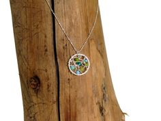 Tiny round #silver web #pendant with 925 #silverchain  Size: 22 mm. - $44.29
