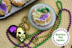 Mommy's Kitchen - Home Cooking & Family Friendly Recipes: Mardi Gras - King Cake Cupcakes #mardigras #kingcake #wmtmoms