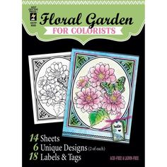 HOt off the Press Floral Garden for Colorists  - Coloring Cards by PNWCrafts on Etsy