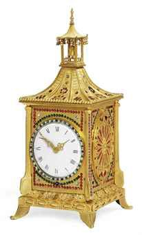 A CHINESE SMALL PASTE-SET GILT-METAL STRIKING AND MUSICAL TABLE CLOCK LATE 18TH OR EARLY 19TH CENTURY