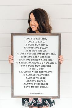 1 Corinthians 13:4 Wood Sign 18x24-Wood Sign-Sweet Water Decor-Rustic-Home-Decor-Chic-Decor-Farmhouse-Decor