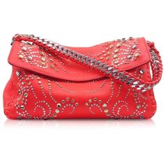 Roberto Cavalli Handbags Tasmania Leather Evening Clutch w/Studs (1,089 CAD) ❤ liked on Polyvore