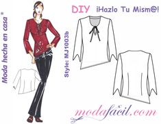 Patrones gratis - Modafacil Doll Clothes Patterns, Sewing Clothes, Clothing Patterns, Top Pattern, Tunic, Couture, Blouse, Tops, Woman
