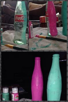 An awesome way to reuse coca cola bottles! All that you need are two coca cola bottles, two different colors of acrylic paint and a brush. Then paint over the bottles, let them dry and you have two beautiful flower vases!