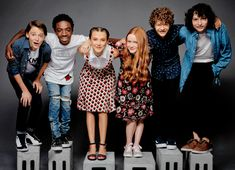 Noah Schnapp, Caleb McLaughlin, Millie Bobby Brown, Sadie Sink, Gaten Matarazzo, and Finn Wolfhard