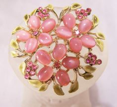 Pink Rhinestone Cabochon Flower  Brooch with Green Painted Leaves