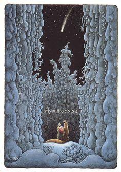 Merry Christmas =>Finnish Hyvää Joulua by Lennart Helje<<=>>  Gnome and Dog Shooting Star