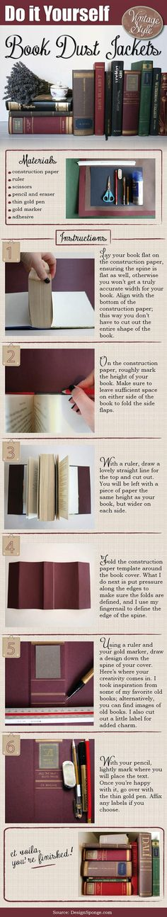 DIY Tutorial: DIY book cover / DIY Book Dust Jackets (Book Covers) - Bead&Cord