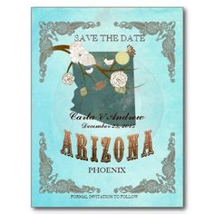Aqua Save The Date - Arizona Map With Lovely Birds Postcards