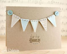 Paper crafts. Cute bunting and button greetings card.