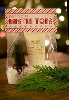 "What a bright idea! ""For Your Mistle Toes"" gifts for friends. Nail polish in a cute gift bag."