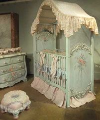 Not sure I have ever seen a more endearing baby bed for a dollhouse family.❤°(¯`★´¯)Shabby Chic(¯`★´¯)°❤ Style Cottage, Interior Design Guide, Miniature Rooms, Baby Furniture, Painted Furniture, Dollhouse Furniture, Girl Nursery, Princess Nursery, Chic Nursery