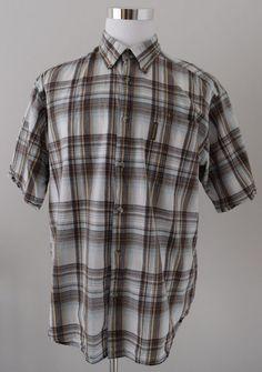 COLUMBIA Men's Shirt Multi-Color Plaid Short Sleeve 100% Cotton Size L #Columbia #ButtonDownShirt