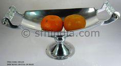 Crystal Handle Aluminium Pedestal Bowl