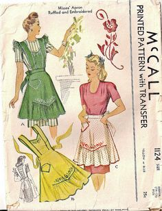 One can never have enough darling vintage aprons like those that can be made with this cute 1940s McCall pattern. #1940s #forties #apron #vintage #sewing #pattern #retro