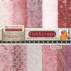 Valentine Digital Papers- Textured Backgrounds - Pink Hearts - Love - Purple Damask Pattern - Digital Scrapbook Paper -  Instant Download #bloggraphics #scrapbooking #digitalscrapbooking #digital #digitalpaper