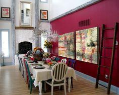 Jane Bellows Art Pick Dining Room Little Designs Blue Walls