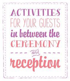 Unique Wedding Reception Activities | Wedding activities, Unique ...