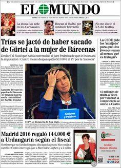 Los Titulares y Portadas de Noticias Destacadas Españolas del 8 de Febrero de 2013 del Diario El Mundo ¿Que le parecio esta Portada de este Diario Español?