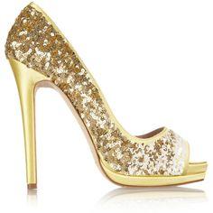 Oscar de la Renta valerie sequined satin peep-toe pumps gold Gaafe ($895) ❤ liked on Polyvore featuring shoes, pumps, heels, sapato, gold heel pumps, gold sequin shoes, peeptoe pumps, sequin pumps and gold pumps