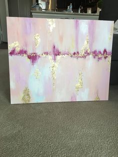 Thin-gallery wrapped canvas, a variety of colors with hints of gold leaf to make it pop. This item has sold. Duplicates can be created (expect some slight variations). Similar theme with different color schemes can also be created, message me