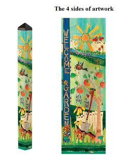 """Welcome To The Garden 4' Peace Pole - Size: 4 ft x 4"""" x 4"""" - Heartland Flags"""