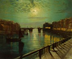 Atkinson Grimshaw - Whitby Harbor by Moonlight