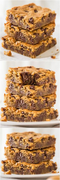 Peanut Butter Chocolate Chip Bars - Super soft bars that just melt in your mouth from all the PB! And all the chocolate! - I'm sure there must be chocolate and peanut butter in heaven ; Chocolate Low Carb, Chocolate Chip Bars, Peanut Butter Chocolate Bars, Peanut Butter Desserts, Pumpkin Chocolate Chips, Pumpkin Brownies, Pumpkin Bars, Peanut Butter Cups, Keks Dessert
