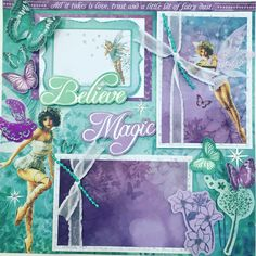 """Fairy scrapbook layout using Kaiser Craft, """" Fairy Dust"""" collection. We also used Mayarts ribbon and bling to add sparkle. Scrapbook Page Layouts, Scrapbook Cards, Baby Girl Scrapbook, Mermaid Tale, Mini Album Tutorial, Photo Mosaic, Fairy Dust, Dust Collection, Mini Albums"""