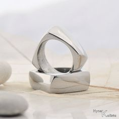 Square Wedding Ring Men ring  Hand forged stainless by KREDUM, $123.00