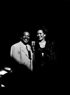 Lady & Count, Strand Theater in 1948 Billie Holiday, Jazz Artists, Jazz Musicians, Lady Sings The Blues, You Rock My World, Vintage Black Glamour, All About Music, Jazz Blues, Black And White Portraits