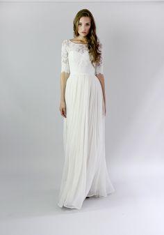 d9cf6cd53c4 Leanne Marshall Helouise Simple Wedding Dress Sleeves