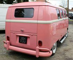 Exterior pink VW bus