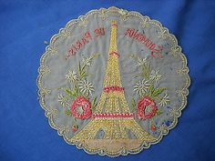 Antique France French Embroidery Paris Eiffel Tower | eBay