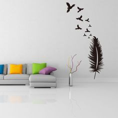 Find More Wall Stickers Information about 1pc Creative PVC Black Feather Birds Wall Sticker Livingroom Background Removable Mural Home Decorative Sticker 1997WS,High Quality home sweet home wall sticker,China home decor sticker Suppliers, Cheap home design wall stickers from NAAN GUO Store on Aliexpress.com