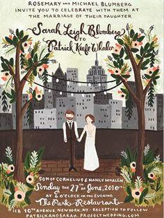 Ideia para convite de #casamento com ilustração.