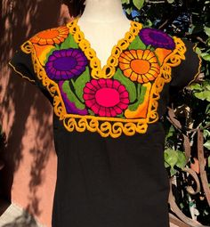 Black Multi Color Hand Embroidered Mayan Huipil Chiapas Mexico Hippie Boho Frida  | eBay