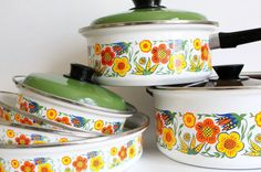 7 Piece Vintage Enamel Set  Flower Pots and Pans by greenbeing...for my dream kitchen... I love this!!!! Purchase when Bill is not around.