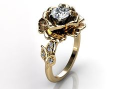 14k yellow gold diamond unusual unique floral engagement ring, bridal ring, wedding ring ER-1032-2. $1,259.99, via Etsy.