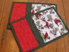 Winter Cardinals Mug Rugs by Quiltedhearts5 on Etsy, $12.00