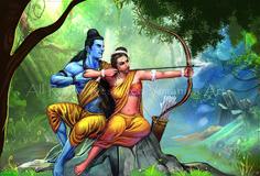 Ram Sita Banwas Canvas Art Print by Vimanika Arts. - Prints for Sale online in India. Shiva Art, Krishna Art, Hindu Art, Radhe Krishna, Ram Sita Image, Ram Image, Lord Ganesha Paintings, Krishna Painting, Shri Ram Photo