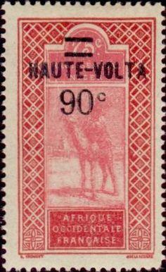 1927: Dromedary (Camelus dromedarius) with Rider (וולטה עילית) (Definitives of Upper Senegal and Niger - overprinted) Mi:BF 37,Sn:BF 37,Yt:BF 35