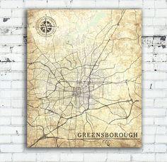 RALEIGH NC Canvas Print North Carolina Vintage Map Raleigh City - Greensboro nc on us map