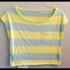 Striped neon crop top! Neon yellow & light sea blue striped crop top! Sleeveless! It has been preloved but still has plenty of life left! No holes or stains. Will bundle :) American Eagle Outfitters Tops Crop Tops